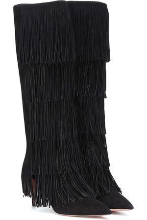 Aquazzura Shake 85 suede fringe boots