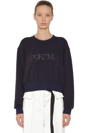 Sportmax Logo Print Cotton Blend Sweatshirt