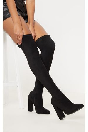 PRETTYLITTLETHING Point Block Heel Over The Knee Boot