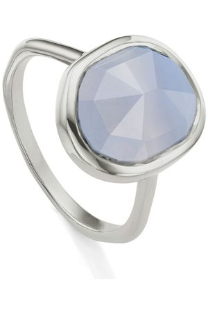 Monica Vinader Women Rings - Sterling Silver Siren Medium Stacking Ring Blue Lace Agate