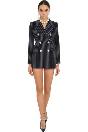 Alessandra Rich Pin Stripe Coolwool Blazer Dress