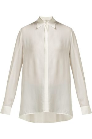 The Row Carla Long Sleeved Chiffon Shirt - Womens - Ivory