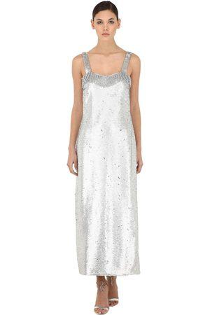 VIVETTA Sequined Maxi Dress W/ Fringes