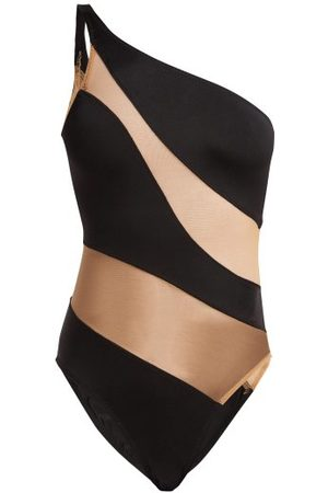 Women Swimsuits - Norma Kamali - Mio One-shoulder Mesh Panelled Swimsuit - Womens - Nude