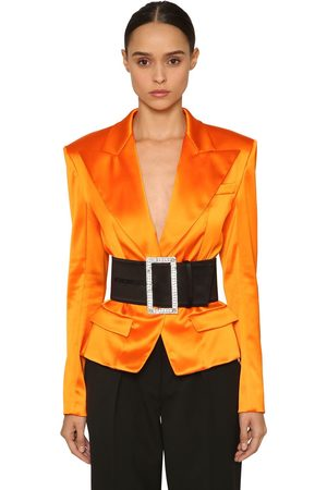ALEXANDRE VAUTHIER Single Button Satin Blazer Jacket