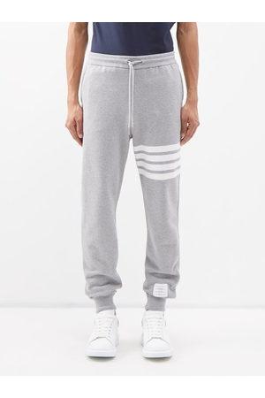 Thom Browne Men Sweatpants - Striped Cotton Track Pants - Mens - Light Grey