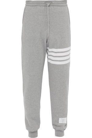 Thom Browne Striped Cotton-jersey Track Pants - Mens - Light Grey