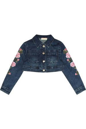 MONNALISA Embroidered cropped denim jacket