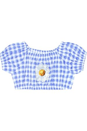MONNALISA Checked cotton crop top