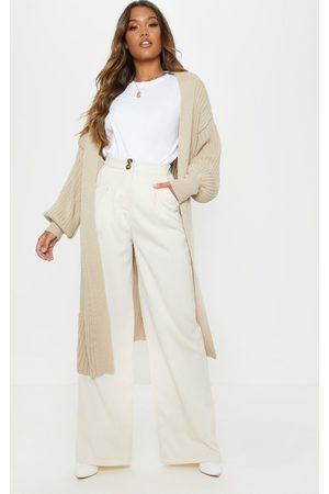 PRETTYLITTLETHING Stone Ribbed Knitted Midi Cardigan