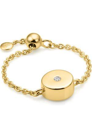 Monica Vinader Women Rings - Gold Linear Solo Friendship Chain Diamond Ring Diamond