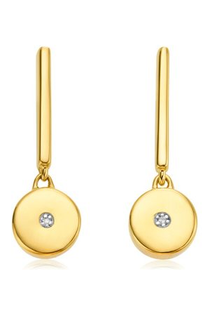 Monica Vinader Women Earrings - Gold Linear Solo Drop Diamond Earrings Diamond