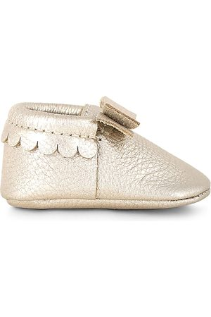 Freshly Picked Girls' Metallic Leather Bow Moccasins - Baby