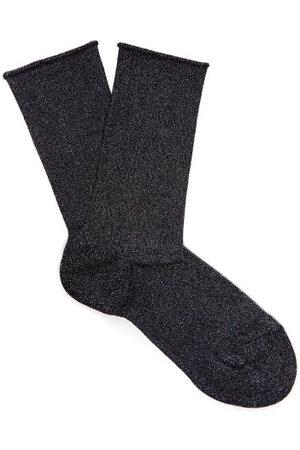 Falke Logo-intarsia Metallic Socks - Womens - Dark Navy