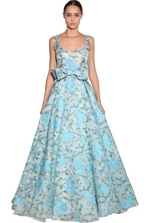 LUISA BECCARIA Embroidered Organza Long Dress