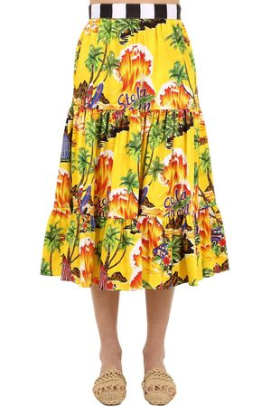 Stella Jean Printed Cotton Midi Skirt