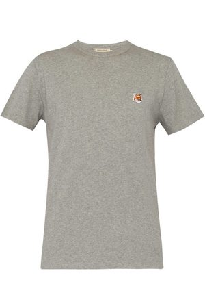 Maison Kitsuné Fox Head-patch Cotton-jersey T-shirt - Mens - Grey