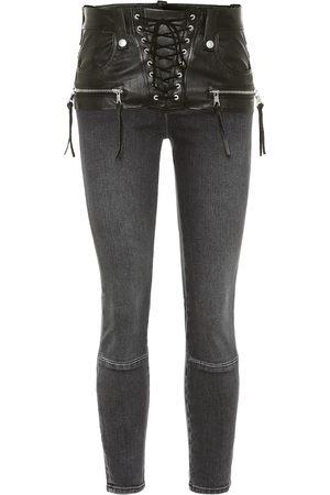 UNRAVEL Leather-trimmed jeans