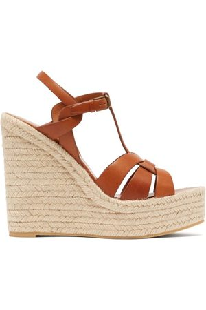 Saint Laurent Tribute Leather Wedge Espadrilles - Womens - Tan