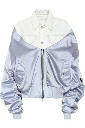 UNRAVEL Denim and satin bomber jacket