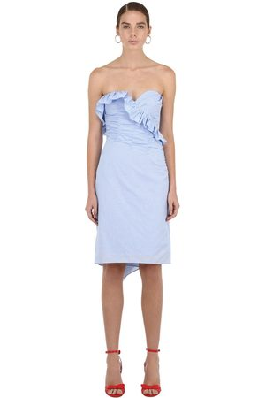 AlexaChung Strapless Ruched Cotton Mini Dress
