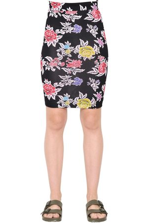House of Holland Rose Printed Viscose Jersey Pencil Skirt