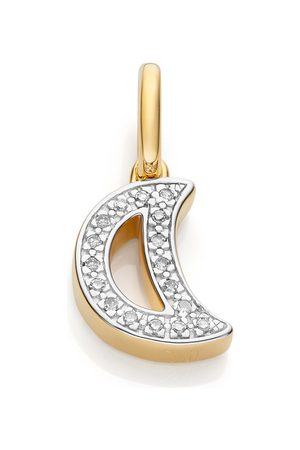Monica Vinader Women Bracelets - Gold Alphabet Moon Diamond Pendant Charm Diamond
