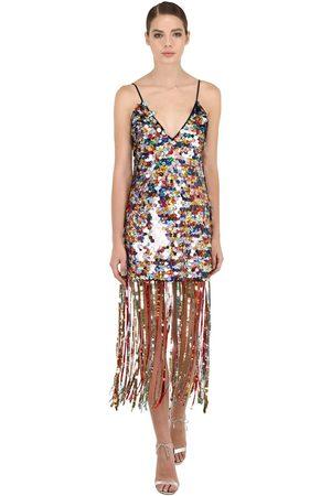MARCO DE VINCENZO Maxi Sequin & Fringed Long Dress
