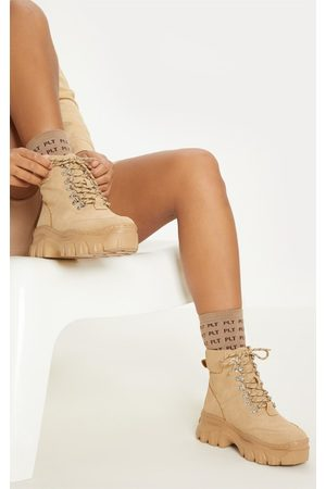 PRETTYLITTLETHING Sand Flatform Chunky Hiker Boot Sneakers