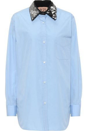 Nº21 Embellished-collar cotton shirt