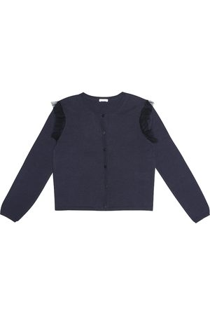 Il gufo Tulle-trimmed cotton cardigan