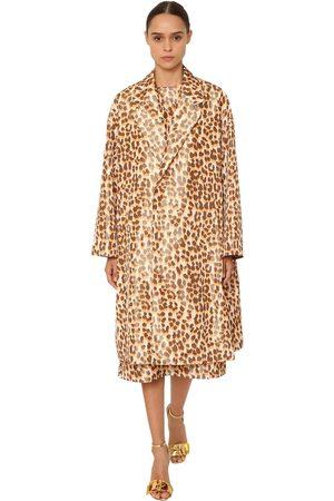 Rochas Leopard Print Silk Taffeta Coat