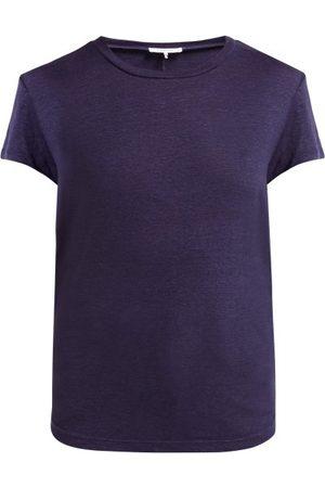 Frame Slubbed Linen Jersey Crew Neck T Shirt - Womens - Navy