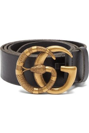 Gucci Gg Snake-buckle Leather Belt - Mens