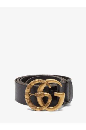 Gucci Men Belts - GG Snake-buckle Leather Belt - Mens
