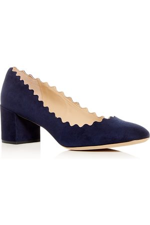 Chloé Women's Lauren Scalloped Block-Heel Pumps