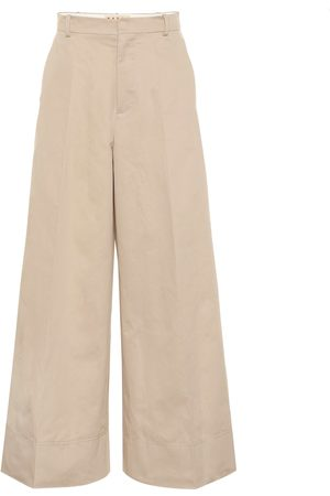 Marni High-rise cotton and linen pants