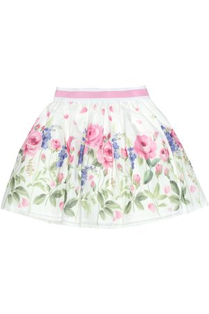 MONNALISA Floral-printed cotton skirt