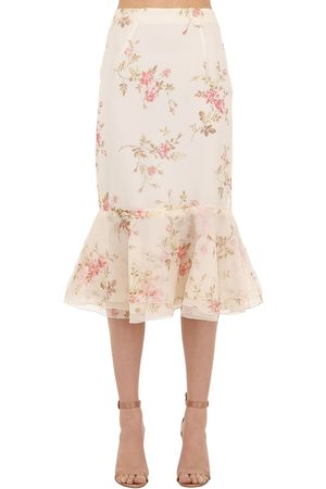 BROCK COLLECTION Floral Printed Silk Organza Skirt