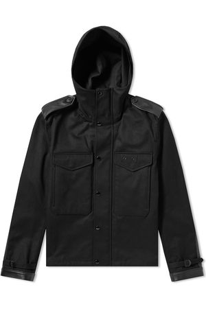 Saint Laurent Men Leather Jackets - Leather Detail Hooded Jacket