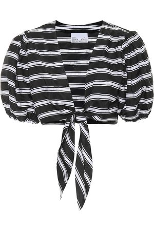 Lisa Marie Fernandez Striped linen-blend cropped blouse