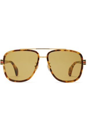 Gucci Web Striped Aviator Frame Acetate Sunglasses - Mens - Tortoiseshell