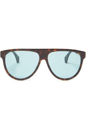 Gucci Aviator Frame Acetate Glasses - Mens - Tortoiseshell