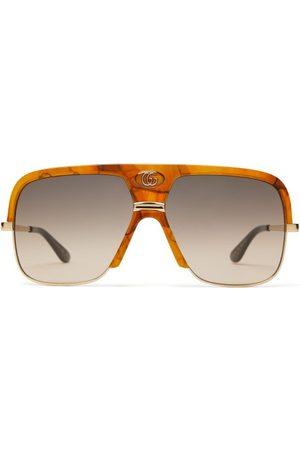Gucci Monogram Tortoiseshell Effect Navigator Sunglasses - Mens - Tortoiseshell