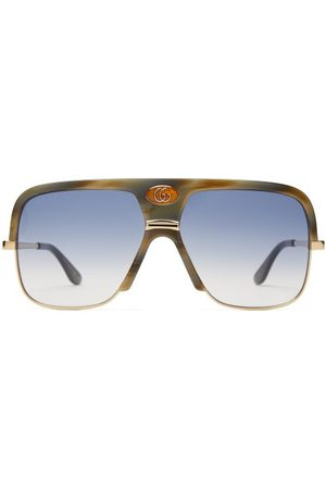 Gucci Navigator Acetate And Metal Sunglasses - Mens