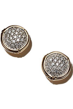 7ff8d4e647f John Hardy Bamboo 18K Yellow Diamond Pave Small Round Stud Earrings