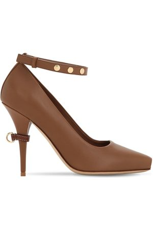 Burberry 105mm Jermyn Open Toe Leather Pumps