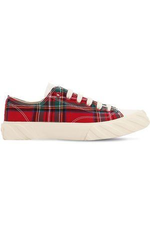 AGE - ACROSS TO GENUINE ERA Age Cut Checked Cotton Canvas Sneakers