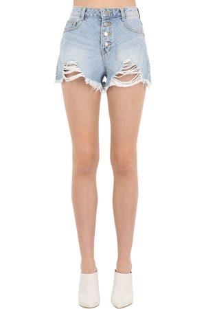 SJYP Destroyed Cotton Denim Shorts