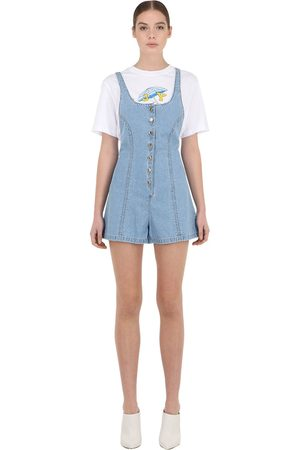 SJYP Button Down Cotton Blend Denim Romper